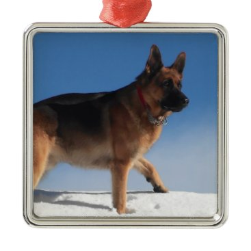 Beach Themed Healthy And Happy German Shepherd Dog Metal Ornament