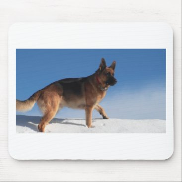 Beach Themed Healthy And Happy German Shepherd Dog Mouse Pad