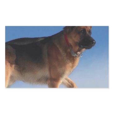 Beach Themed Healthy And Happy German Shepherd Dog Rectangular Sticker