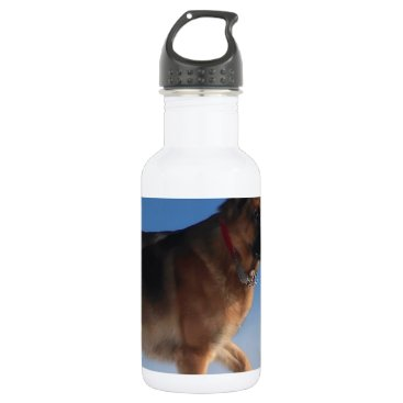 Beach Themed Healthy And Happy German Shepherd Dog Stainless Steel Water Bottle