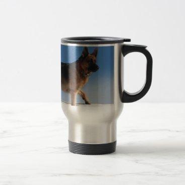 Beach Themed Healthy And Happy German Shepherd Dog Travel Mug
