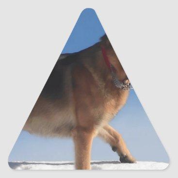 Beach Themed Healthy And Happy German Shepherd Dog Triangle Sticker