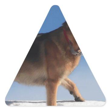 Beach Themed Healthy And Happy German Shepherd Dog Triangle Sticker