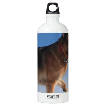 Beach Themed Healthy And Happy German Shepherd Dog Water Bottle