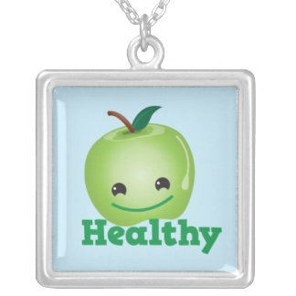 Healthy apple necklace cute! square pendant necklace