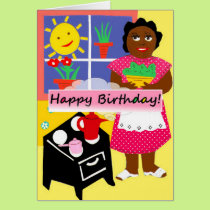 Healthy birthday collards greeting card