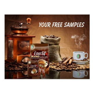 Healthy Coffee FREE SAMPLES Postcard