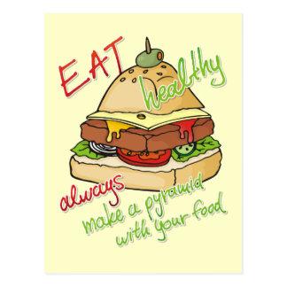 Healthy eating burger pyramid postcard