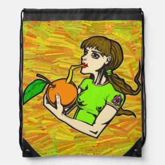 Healthy Eating Girl Drinking Orange Juice Drawstring Bag