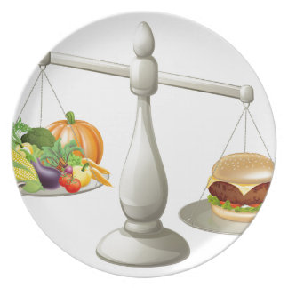Healthy eating will power concept dinner plate