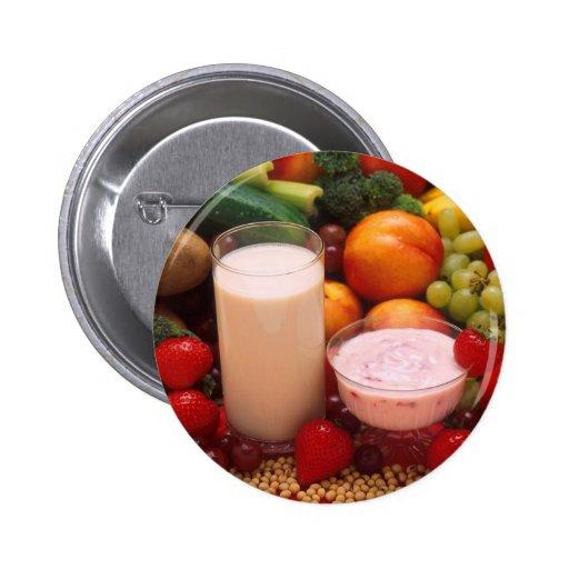 Healthy food 2 inch round button