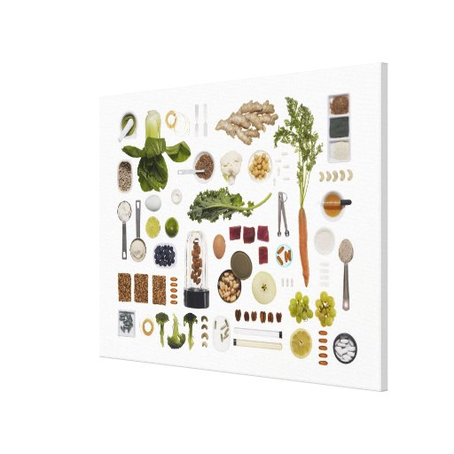 Healthy food grid on a white background. canvas print