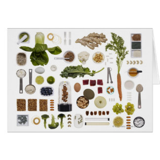 Healthy food grid on a white background greeting cards