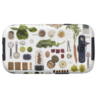 Healthy food grid on a white background. galaxy SIII case