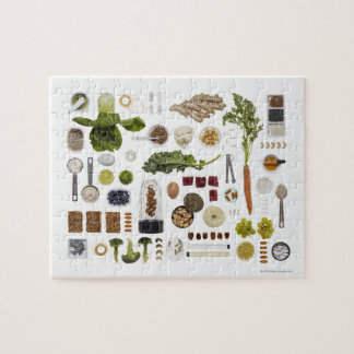 Healthy food grid on a white background. jigsaw puzzle