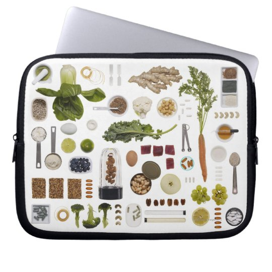 Healthy food grid on a white background. laptop sleeve
