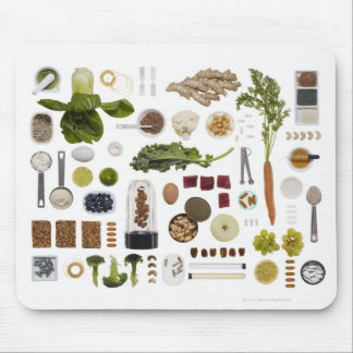 Healthy food grid on a white background. mouse pad