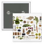 Healthy food grid on a white background. pinback button