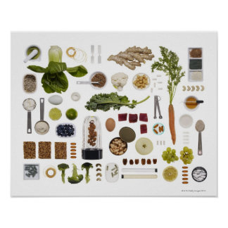 Healthy food grid on a white background. print
