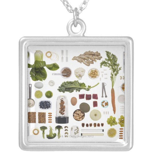 Healthy food grid on a white background. silver plated necklace