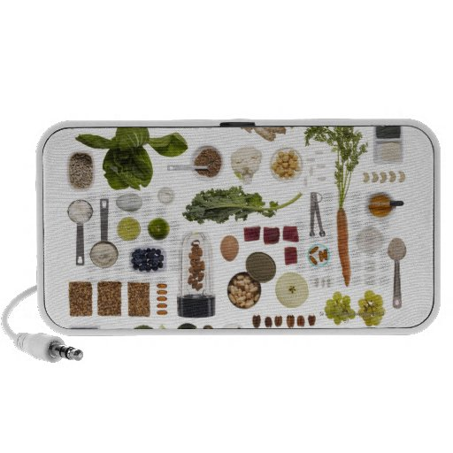 Healthy food grid on a white background. iPod speaker