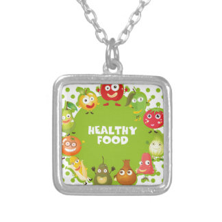 Healthy food sign with fresh vegetables square pendant necklace