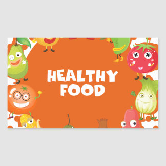 Healthy food theme with fruits and vegetables rectangular sticker