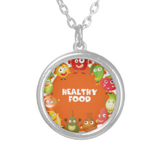 Healthy food theme with fruits and vegetables round pendant necklace