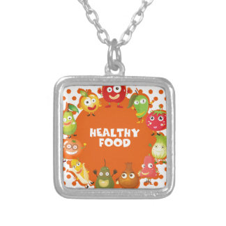 Healthy food theme with fruits and vegetables square pendant necklace