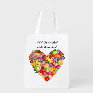 Healthy Fruit Heart Grocery, Gift, Favor Bag Market Tote