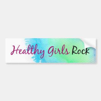 Healthy Girls Rock - paint splatter blue and green Car Bumper Sticker
