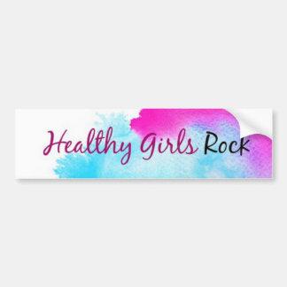 Healthy Girls Rock - paint splatter pink and blue Car Bumper Sticker