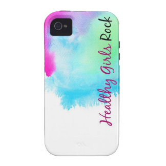 Healthy Girls Rock - paint splatter pink and blue Vibe iPhone 4 Case