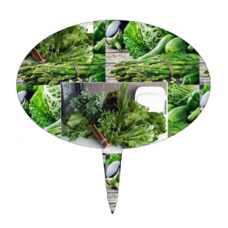 Healthy green leafy vegetable salads chefs cuisine cake topper