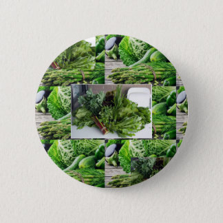 Healthy green leafy vegetable salads chefs cuisine pinback button