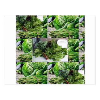 Healthy green leafy vegetable salads chefs cuisine postcard