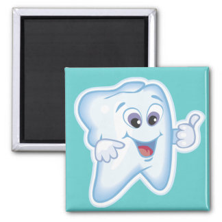 Healthy Happy Tooth 2 Inch Square Magnet