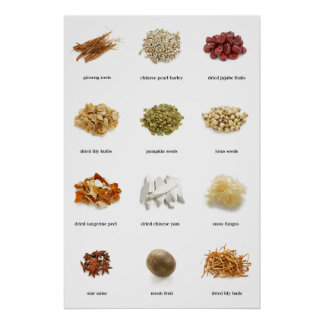 Healthy herbs and spices list poster healing love poster