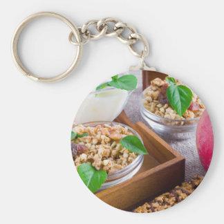 Healthy ingredients for breakfast keychain