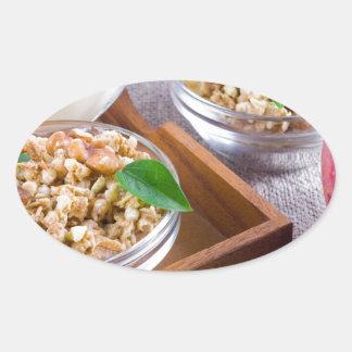 Healthy ingredients for breakfast oval sticker
