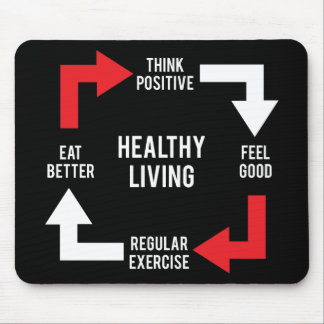 Healthy Living Diagram - Fitness Motivational Mouse Pad
