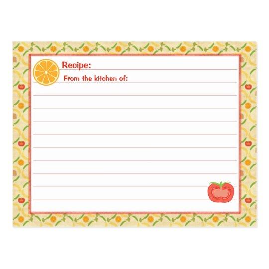 Healthy Living Recipe Card