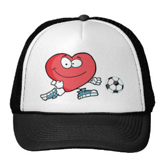 Healthy Red Heart Playing With Soccer Ball Trucker Hat