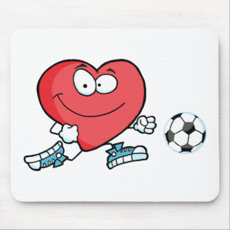 Healthy Red Heart Playing With Soccer Ball Mouse Pad