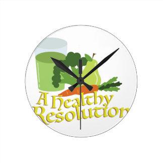 Healthy Resolution Round Clock