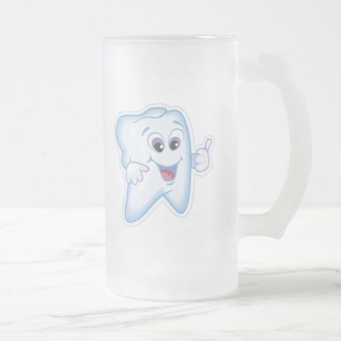 Healthy Teeth Frosted Glass Beer Mug