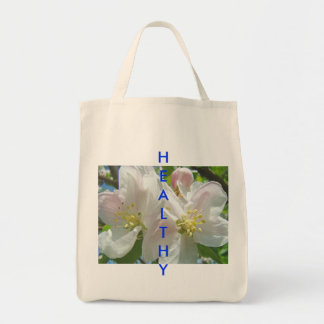 HEALTHY Tote bag Grocery Totes Cloth bags Floral
