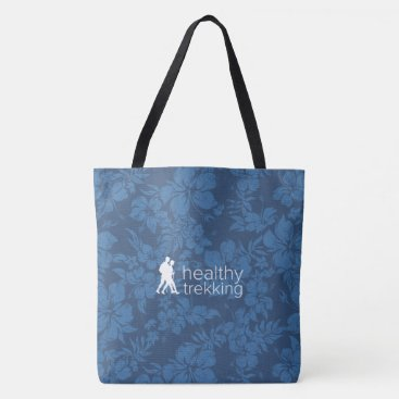 Beach Themed Healthy Trekking Hawaiian Hibiscus Navy Beach Bag