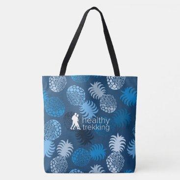 Beach Themed Healthy Trekking Hawaiian Pineapple Navy Beach Bag