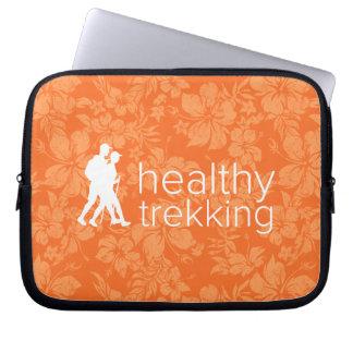 Healthy Trekking Orange Hibiscus Logo Wet Suit Laptop Sleeve